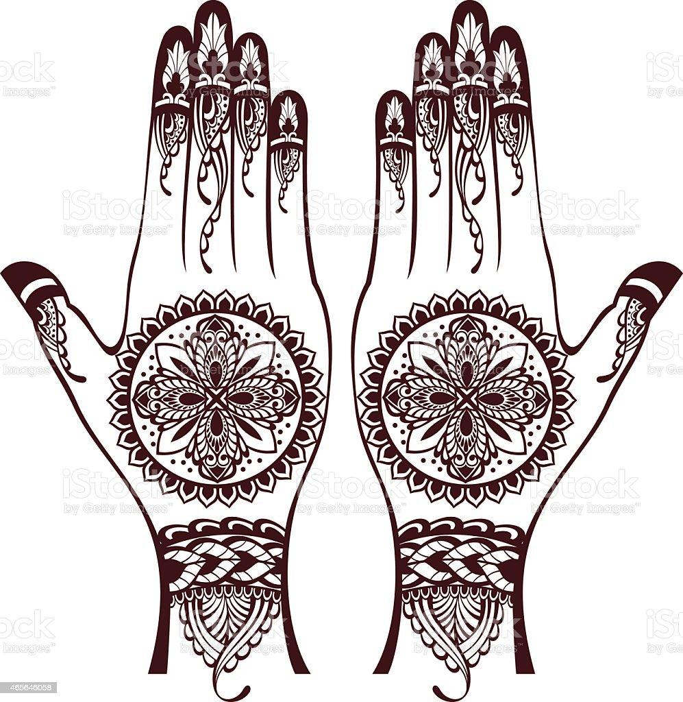 vector illustration of hands with henna tattoos stock vector art rh istockphoto com Henna Wallpaper Henna Mandala