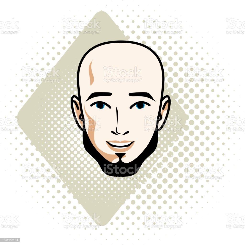 ひげ肯定的な顔の特徴クリップアートでハンサムなハゲ男性顔のベクター