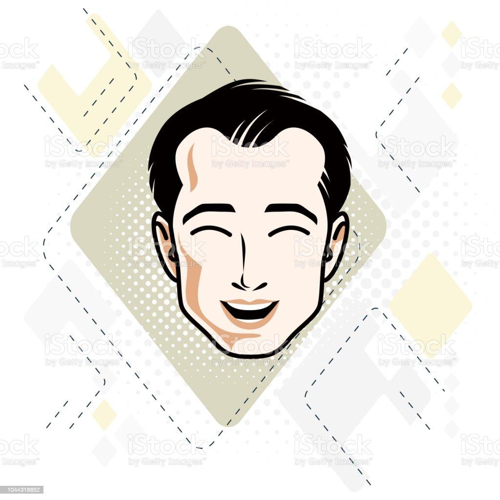 黒髪のハンサムな男性顔正面機能アートのベクトル イラスト 1人の