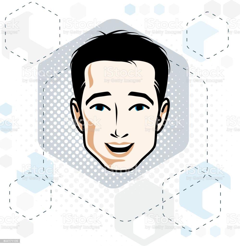 黒髪のハンサムな男性顔正面機能アートのベクトル イラスト