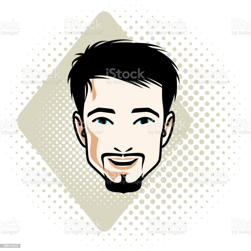 口ひげあごひげ肯定的な顔の特徴クリップアートでハンサムな黒髪男性顔