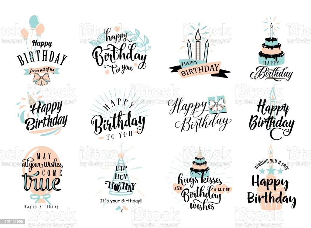 Vector Illustration Of Happy Birthday Badge Set Stock
