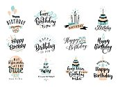Vector illustration of Happy Birthday badge set. Design element for greeting cards, banner, print with lettering typography text sign, quote, cake, candle, gift, balloon isolated on white background
