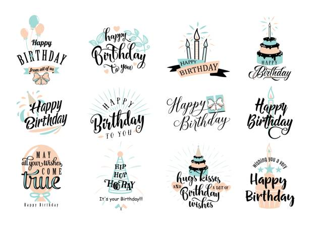Vector illustration of Happy Birthday badge set Vector illustration of Happy Birthday badge set. Design element for greeting cards, banner, print with lettering typography text sign, quote, cake, candle, gift, balloon isolated on white background cake drawings stock illustrations