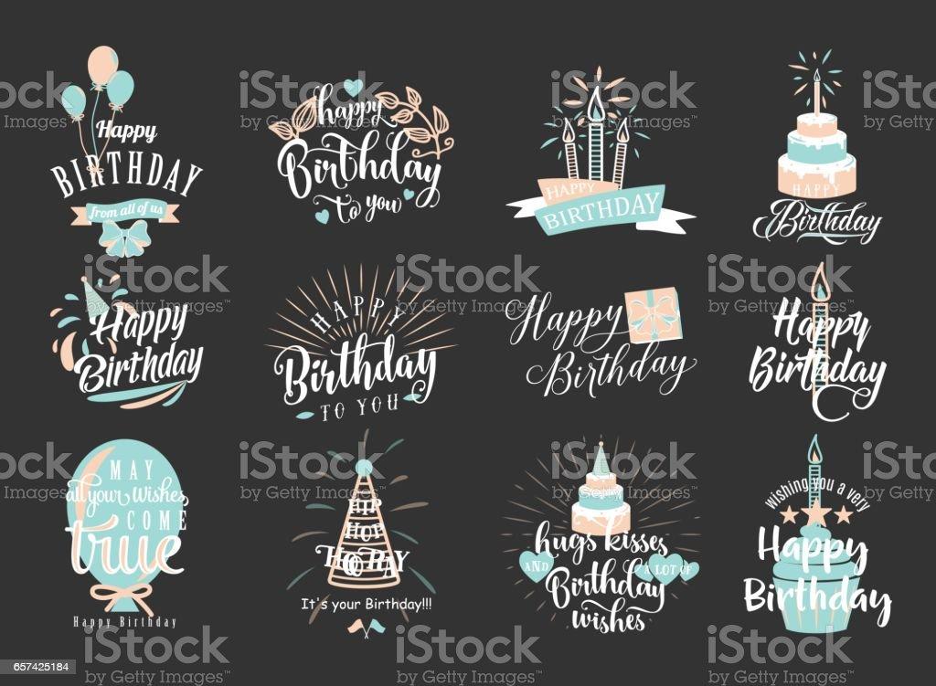 Vector illustration of Happy Birthday badge set - illustrazione arte vettoriale