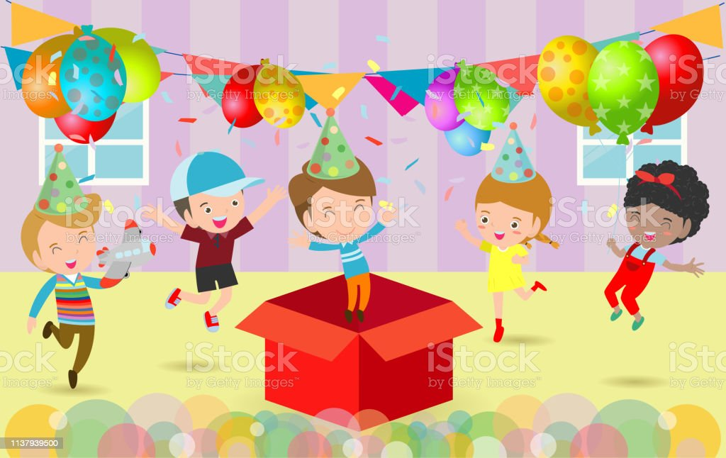 Vector Illustration Of Happy Birthday Party Kids Party Birthday Celebration Birthday Party For Children Stock Illustration Download Image Now