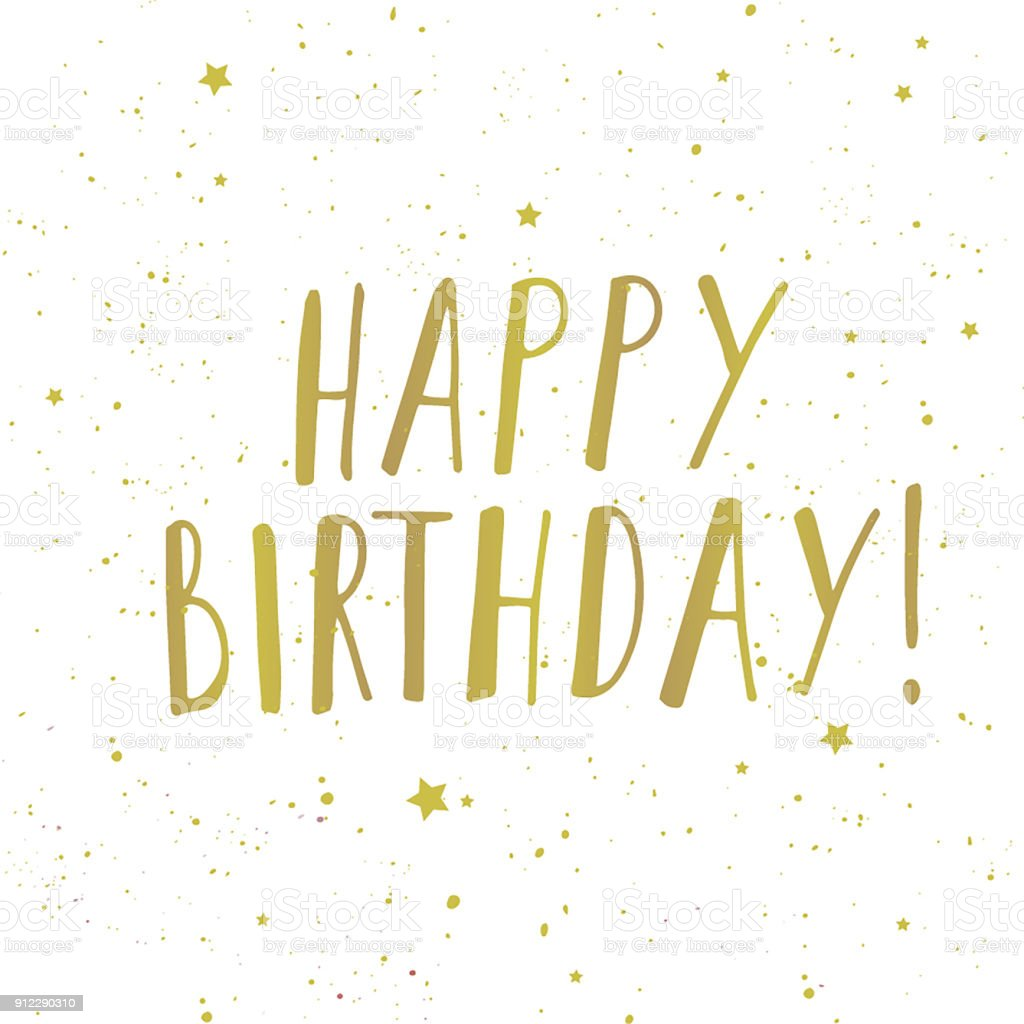 vector illustration of happy birthday words and small golden stars