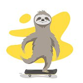 Vector illustration of happy cute sloth on skateboard.