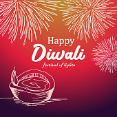 Vector illustration of happy diwali greeting design with colorful background and burning diya.