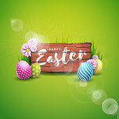 Vector Illustration of Happy Easter Holiday with Painted Egg and Flower on Green Nature Background. International Celebration Design with Typography for Greeting Card, Party Invitation or Promo Banner