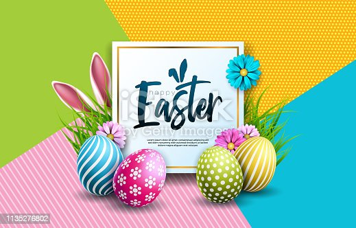 istock Vector Illustration of Happy Easter Holiday with Painted Egg, Rabbit Ears and Spring Flower on Colorful Background. International Celebration Design with Typography for Greeting Card, Party Invitation or Promo Banner. 1135276802