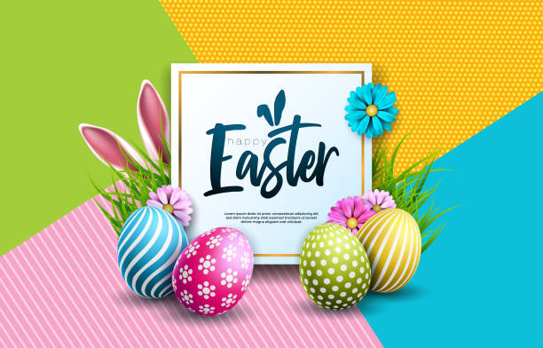Vector Illustration of Happy Easter Holiday with Painted Egg, Rabbit Ears and Spring Flower on Colorful Background. International Celebration Design with Typography for Greeting Card, Party Invitation or Promo Banner. Vector Illustration of Happy Easter Holiday with Painted Egg, Rabbit Ears and Spring Flower on Colorful Background. International Celebration Design with Typography for Greeting Card, Party Invitation or Promo Banner easter stock illustrations