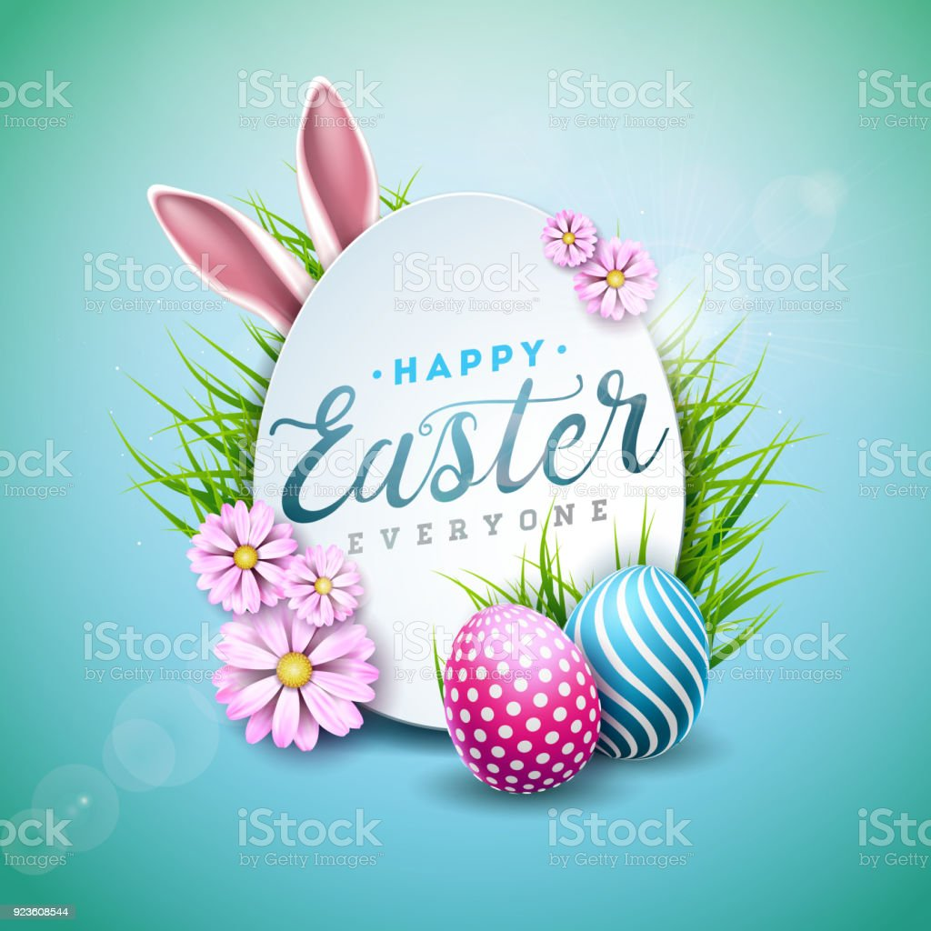 Vector Illustration of Happy Easter Holiday with Painted Egg, Rabbit Ears and Flower on Shiny Blue Background. International Celebration Design with Typography for Greeting Card, Party Invitation or Promo Banner. vector art illustration