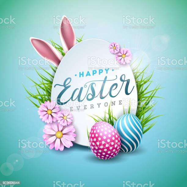 Vector Illustration of Happy Easter Holiday with Painted Egg, Rabbit Ears and Flower on Shiny Blue Background. International Celebration Design with Typography for Greeting Card, Party Invitation or Promo Banner