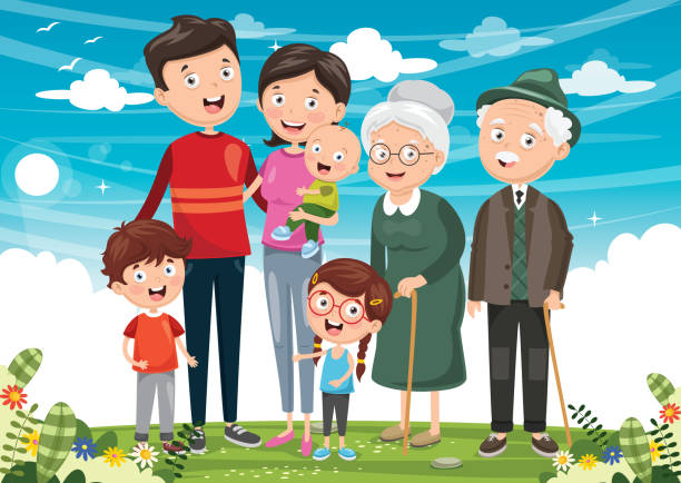 vector illustration of happy family - old man standing background stock illustrations, clip art, cartoons, & icons