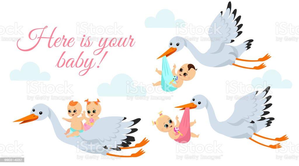 Illustration Vectorielle De Joyeux Cigognes Volants Avec