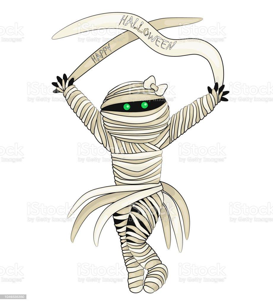 Ilustración de vector de Feliz Halloween con la momia en estilo de dibujos animados - ilustración de arte vectorial