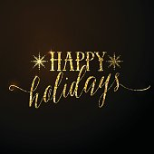 Vector illustration of Happy Holidays glitter gold lettering text