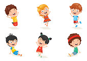 Vector Illustration Of Happy Kid Characters