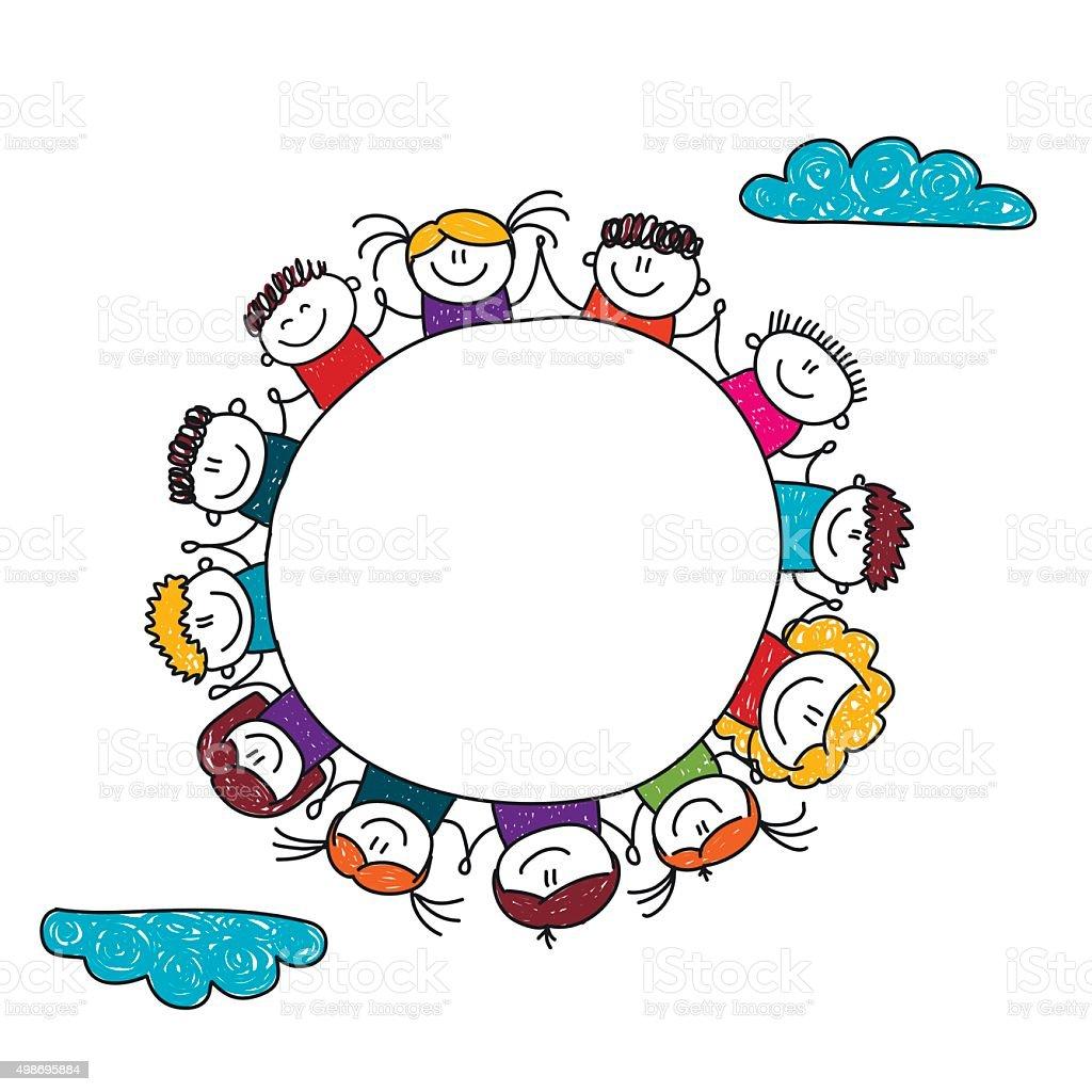 Illustration vectorielle des enfants joyeux enfants dessin - Dessin banderole ...