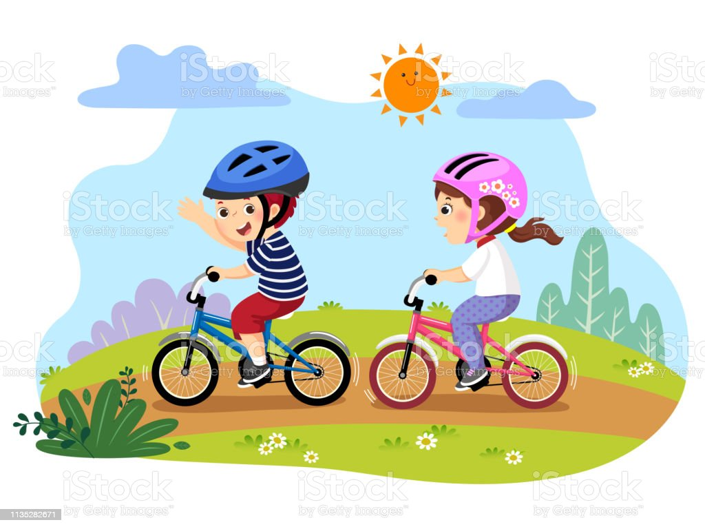 Vector Illustration Of Happy Kids Riding Bicycles In The Park ...