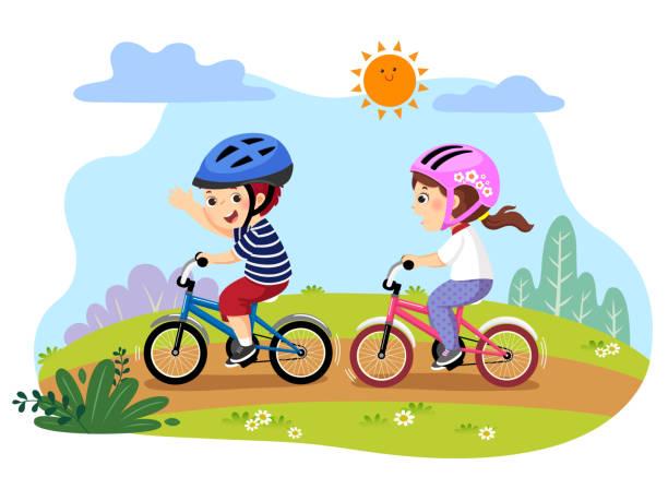 ilustrações, clipart, desenhos animados e ícones de vector a ilustração dos miúdos felizes que montam bicicletas no parque. - ciclismo