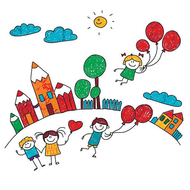 Vector illustration of happy kids. Vector illustration of happy children playing wiht balloons at school yard. Kids drawing style dollhouse stock illustrations