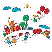 Vector illustration of happy kids.