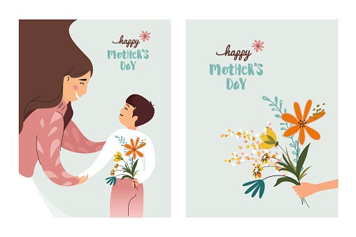 Vector Illustration Of Happy Mother  Receiving Flowers from Her Son.