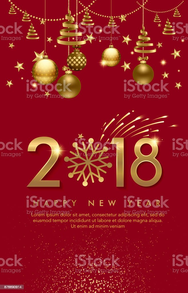 vector illustration of happy new year 2018 balls star firework for flayer