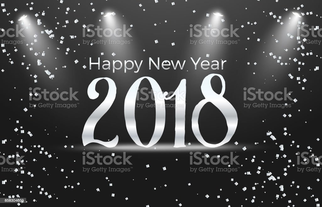 vector illustration of happy new year 2018 gold and black colors