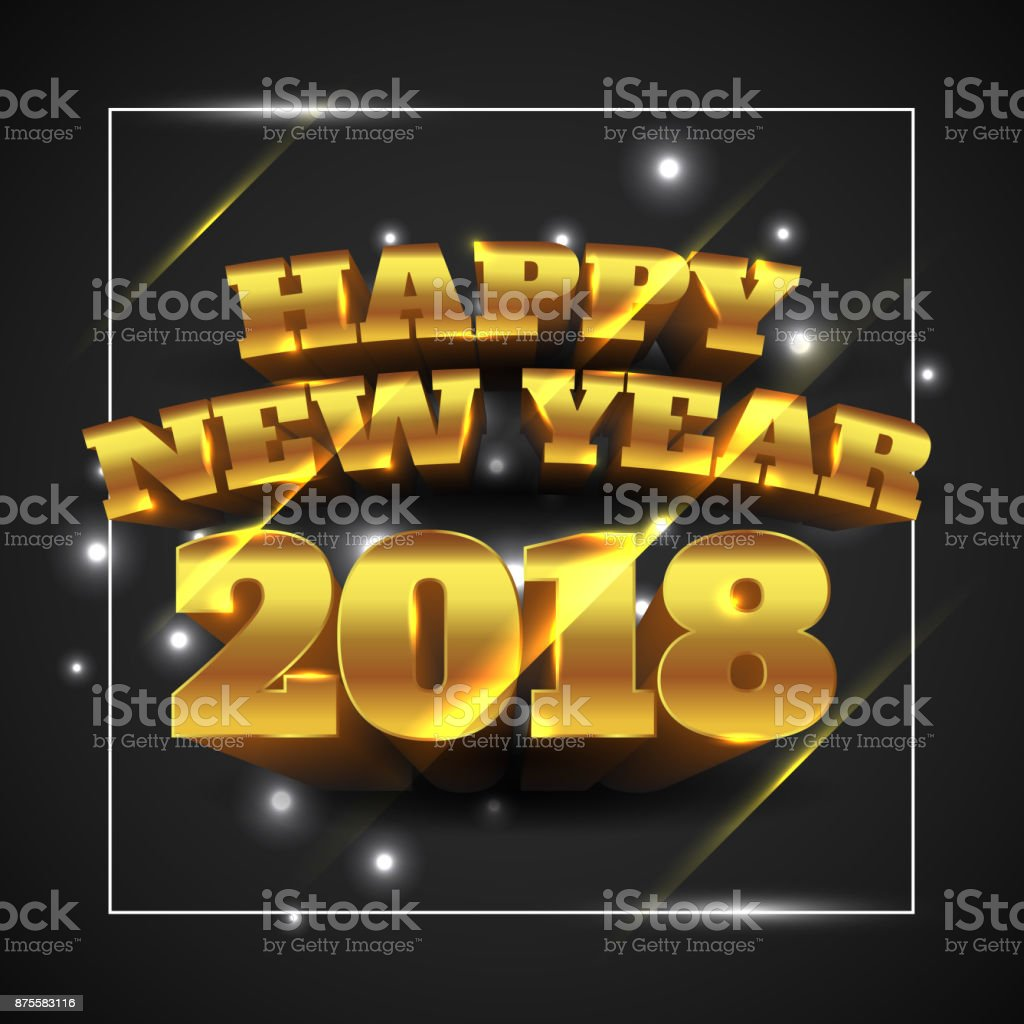 Vector Illustration of Happy New Year 2018 Gold with Black Background vector art illustration