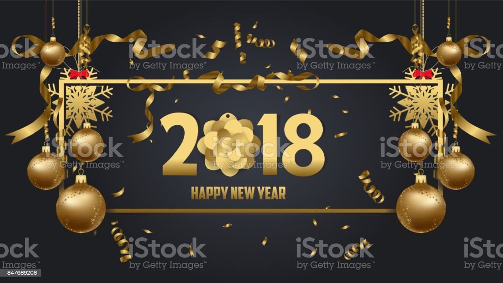 vector illustration of happy new year 2018 wallpaper gold and black colors place for text christmas