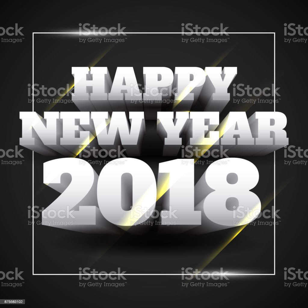 vector illustration of happy new year 2018 white text with black background royalty free vector