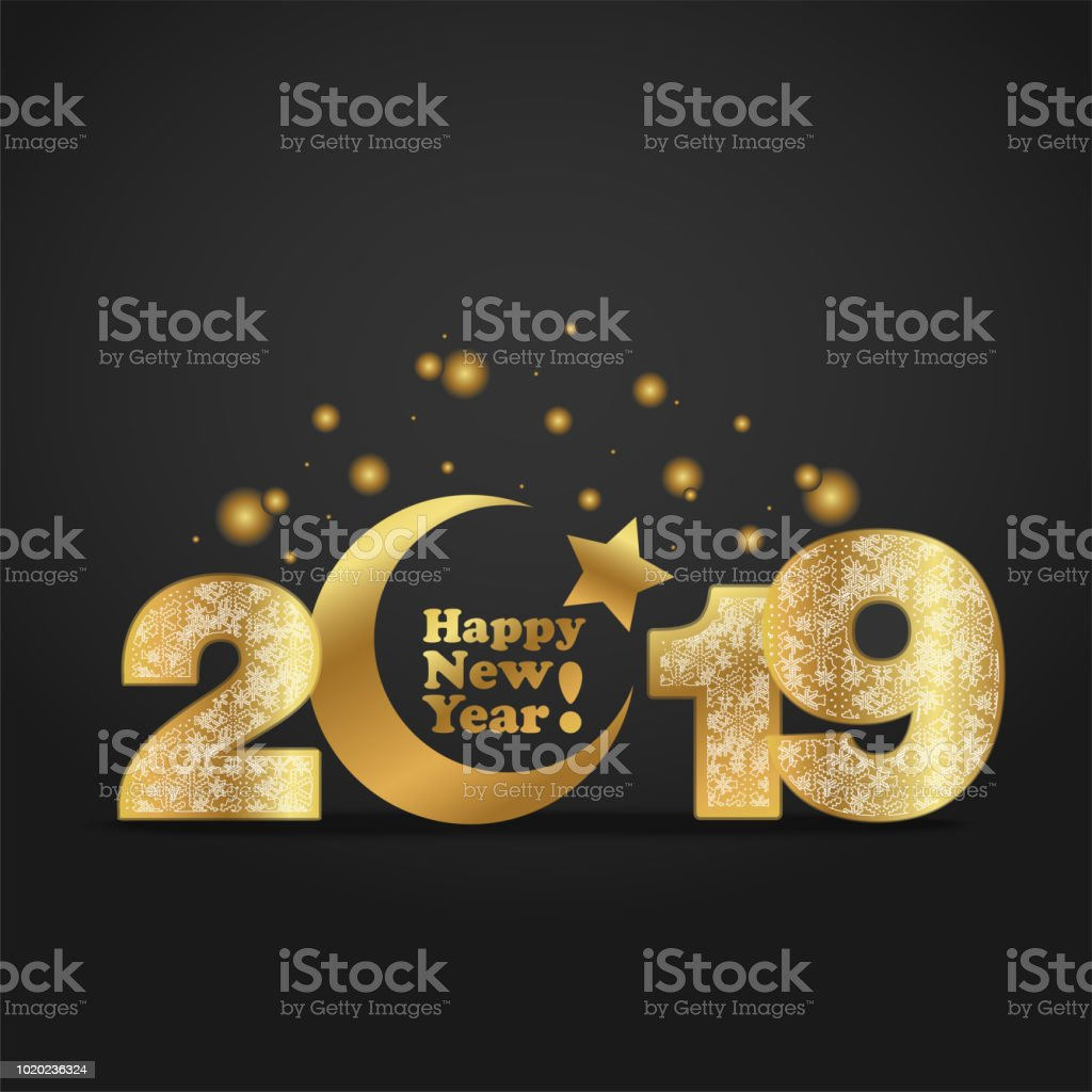 vector illustration of happy new year 2019 gold numeral with silver snowflakes ornament on black background