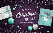 Beautiful background with Christmas decoration.  Holiday greeting card