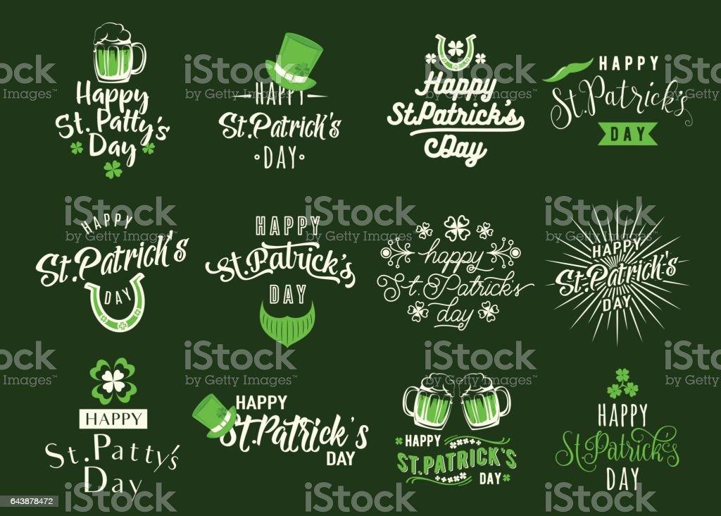 Vector illustration of happy patricks day typography text design vector art illustration