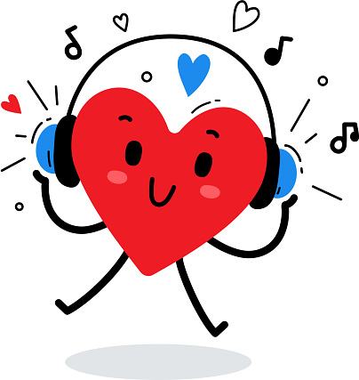 Vector illustration of happy red heart character listening to music in headphones on white background.