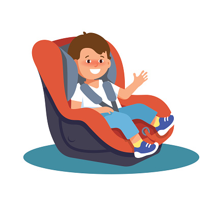 Vector illustration of happy smiling child sitting in a car seat on a white background.