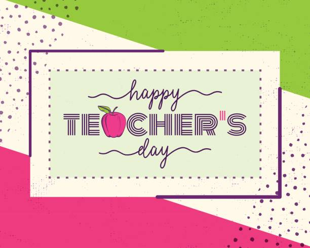 Vector illustration of happy teachers day. Greeting design for print, card Vector illustration of happy teachers day. Greeting design for print, card, badge, stamp, banner in hipster color motion style with word text sign, simple line form, grunge dots, frame thank you teacher stock illustrations