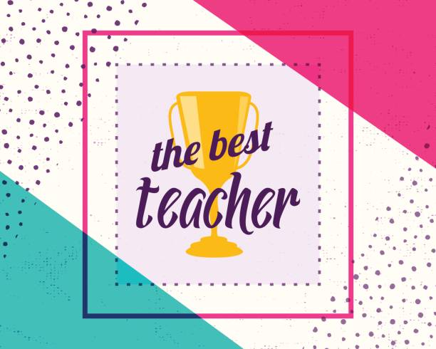 vector illustration of happy teachers day. greeting design for print, card - thank you teacher stock illustrations, clip art, cartoons, & icons