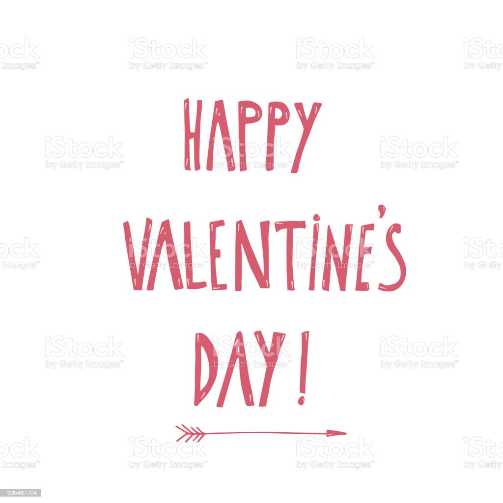 vector illustration of happy valentines day greeting words and arrow