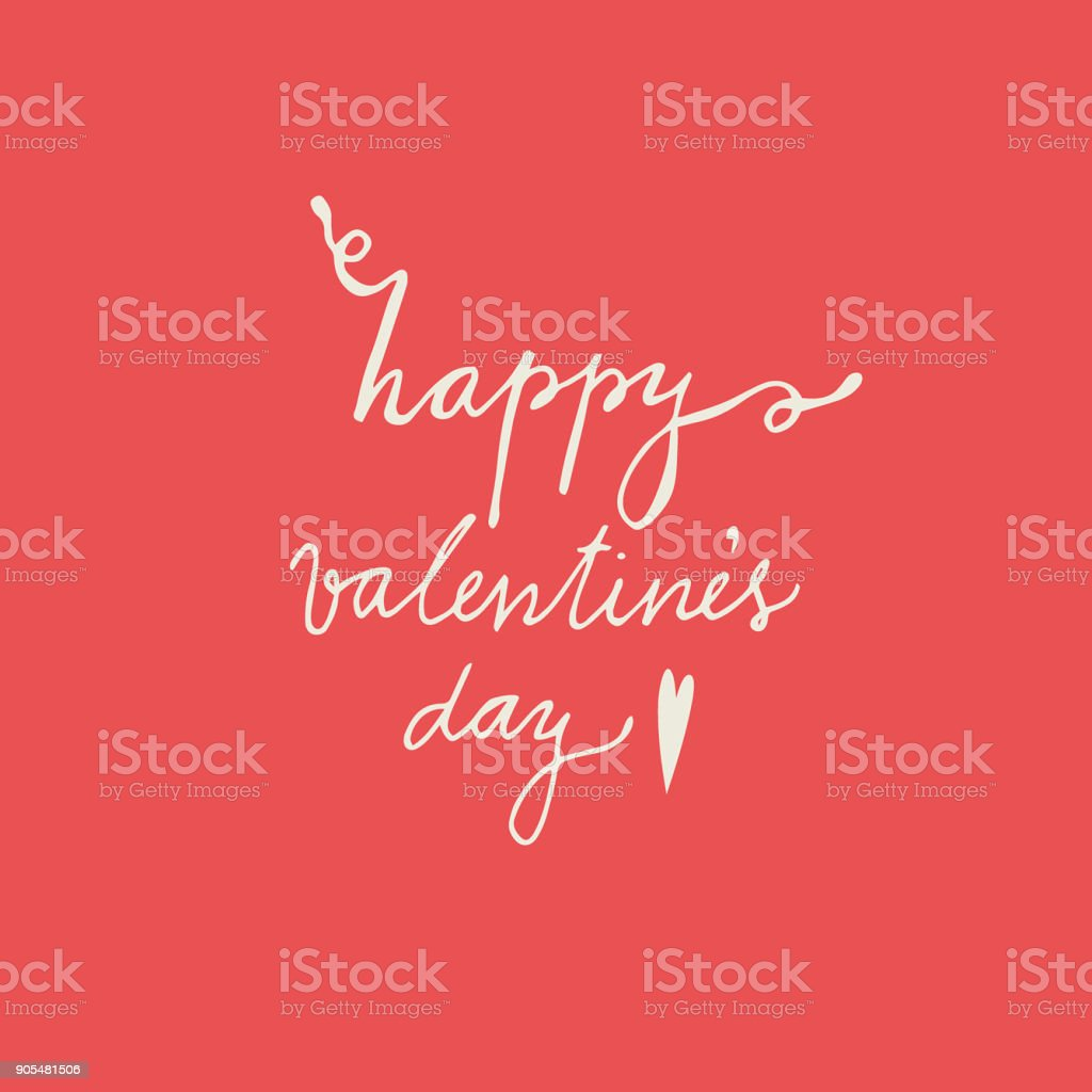 Vector Illustration Of Happy Valentines Day Words And Small Arrow