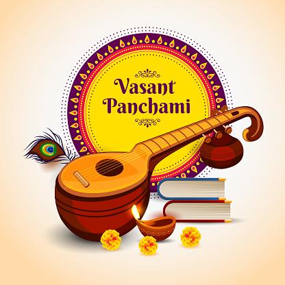 Vector illustration of Happy Vasant Panchami festival.