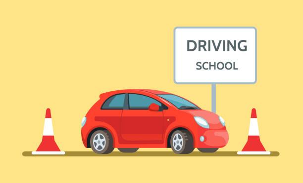ilustraciones, imágenes clip art, dibujos animados e iconos de stock de ilustración vectorial de joven feliz que se encuentra en rojo coche de la escuela de conducción al aire libre en estilo plano - aprender a conducir