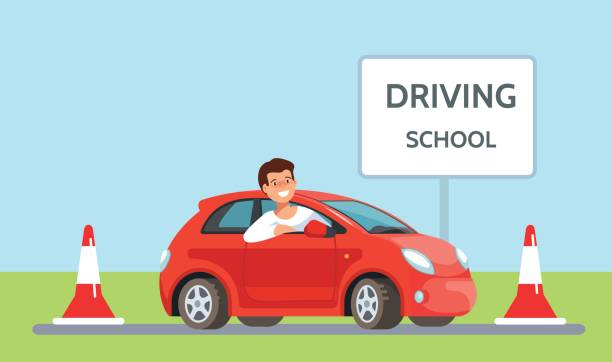 Vector illustration of happy young man siting in red driving school car outdoor in flat style vector art illustration