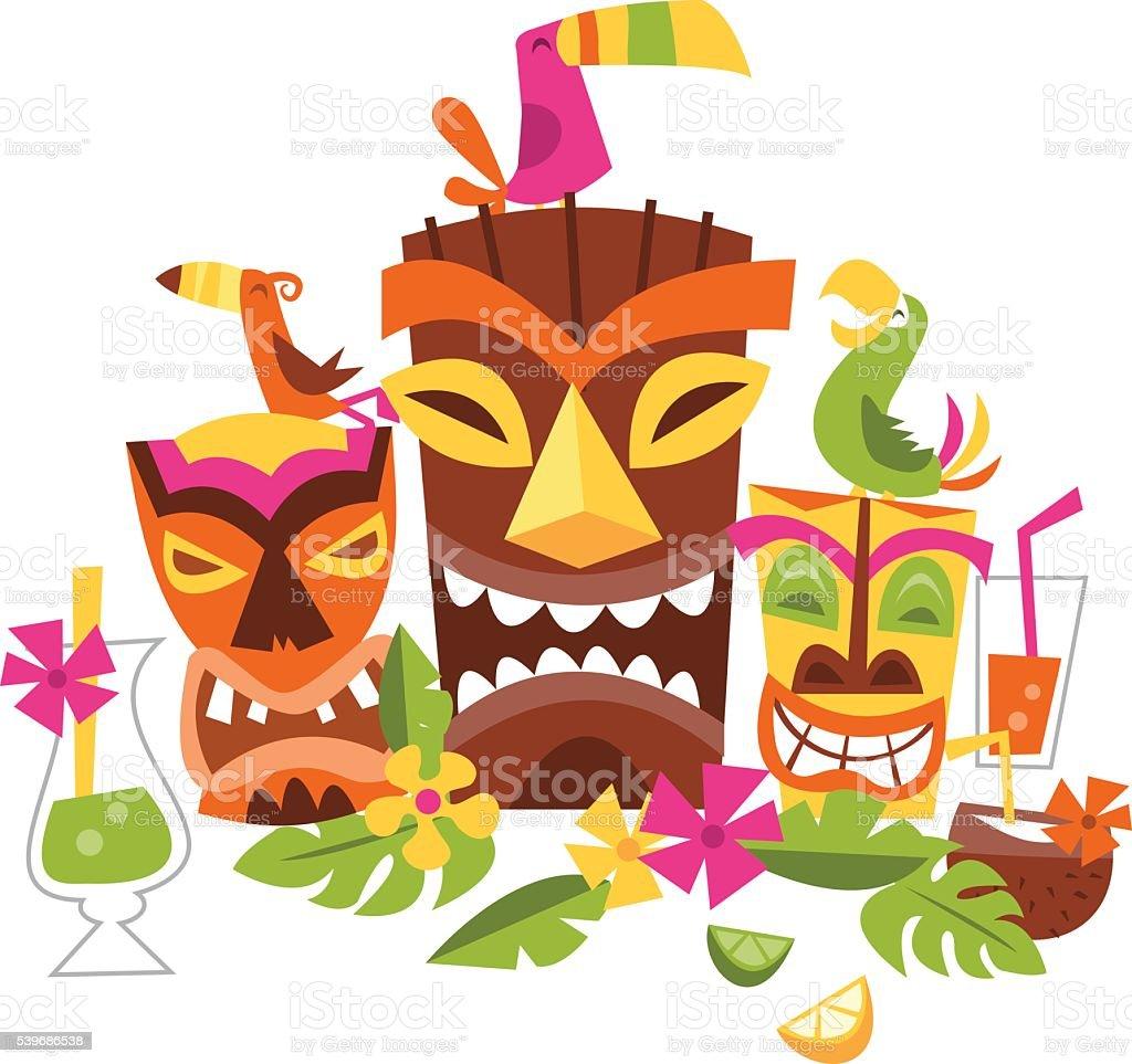 Vector Illustration Of Hawaiian Luau Party Stock Vector ...
