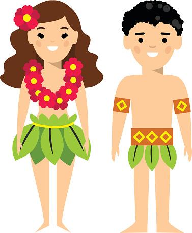 Vector illustration of  hawaiian male and female