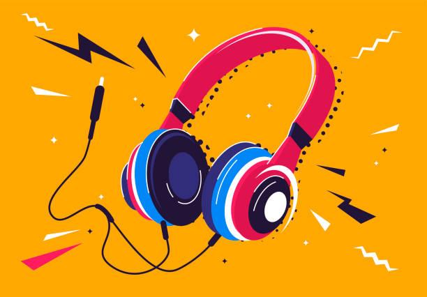 bildbanksillustrationer, clip art samt tecknat material och ikoner med vektor illustration av hörlurar med en plugg och dekorativa element runt - musik