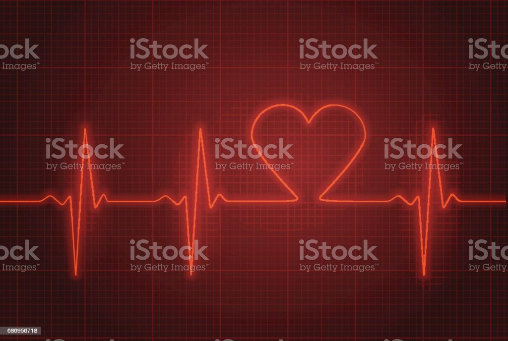 Vector illustration of heart pulse in red. vector art illustration